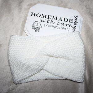 Beautiful white knitted ear warmer headband